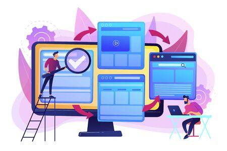 Tecnología digital. Optimización de motores de búsqueda. Constructor de sitios web. Desarrollo de micrositio, pequeña página web, concepto de diseño web de micrositio. Ilustración aislada de vector violeta vibrante brillante