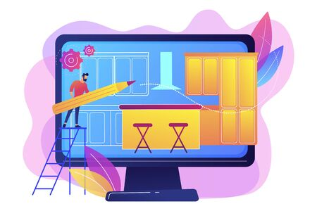 Carpentry workshop. Room design, home decor, interior designer. Custom made kitchens, bespoke kitchens design, modern fitted kitchens concept. Bright vibrant violet vector isolated illustration