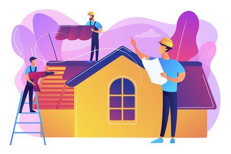 Réparation de bâtiment. Rénovation de toiture et reconstruction de toiture. Services de toiture, soutien à la réparation de toiture, concept d'entrepreneurs en toiture de pointe. Illustration isolée de vecteur violet vif lumineux Vecteurs