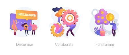 Teamwork and coworking web banners set. Online business conference, money investment. Discussion, collaboration, fundraising metaphors. Vector isolated concept metaphor illustrations