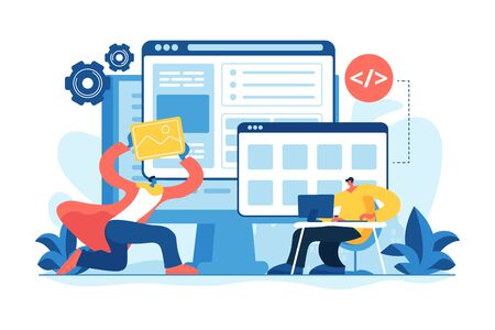 IT specialists team working on project. Programming and optimization. Website development, web application coding, design for web browsers concept. Vector isolated concept creative illustration