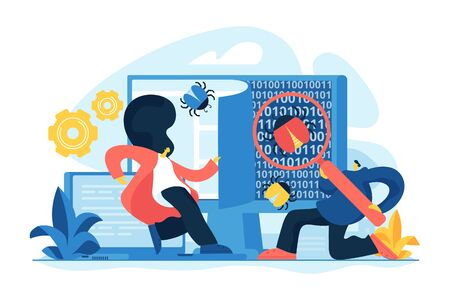 Programmers catching bugs. Service company checking system errors. IT software application testing, quality assurance, QA team and bug fixing concept. Vector isolated concept creative illustration