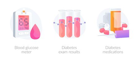 Sugar level monitoring. Medicine and healthcare. Diabetes treatment. Blood glucose meter, diabetes exam results, diabetes medications metaphors. Vector isolated concept metaphor illustrations.