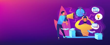 Exhausted, frustrated worker, burnout. Boss shout at employee, deadline. How to relieve stress, acute stress disorder, work related stress concept. Header or footer banner template with copy space.