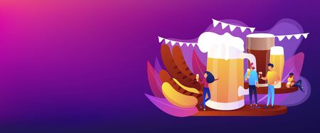 Tiny business people at festival talking and drinking beer, huge mug and sausages. Beer fest, street brewing, beer and music festival concept. Header or footer banner template with copy space.