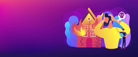 Demolished house in flame, natural disaster. Uninsured burnt property damages. Fire consequences, fire hazards losses, fire victims found concept. Header or footer banner template with copy space.