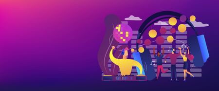 Young people dancing in night club, listening to music, DJ concert. Silent disco, headphones party, quiet rave party, silent disco equipment concept. Header or footer banner template with copy space.
