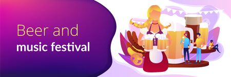 Pretty girl with beer mugs and tiny business people at festival talking and drinking. Beer fest, street brewing, beer and music festival concept. Header or footer banner template with copy space.
