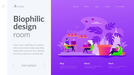 Biophilic design in workspace landing page template  イラスト・ベクター素材