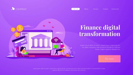 Open banking platform landing page template 向量圖像