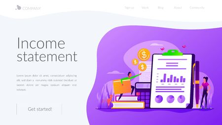Income statement landing page template Vettoriali