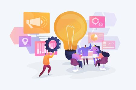 Business idea generation. Marketing strategies, investment opportunities discussion. Start up launching, business success, brainstorm meeting concept. Vector isolated concept creative illustration Banque d'images - 128739217
