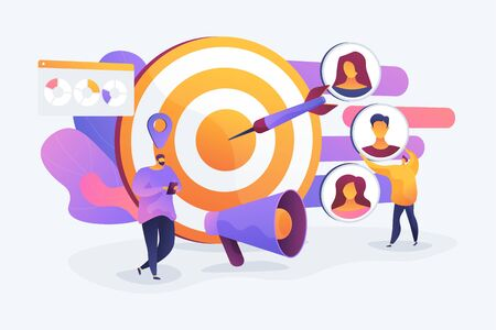 Customer attraction campaign, accurate promo, advertising business. Market segmentation, adverts, target market, target group, target customer concept. Vector isolated concept creative illustration Illustration