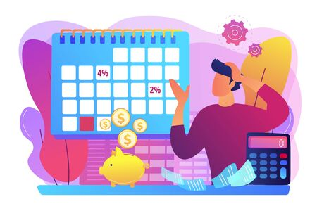 Financial literacy, finances management, credit plan evaluation. Early payment discount, prompt payment cash discount, pay early pay less concept. Bright vibrant violet vector isolated illustration