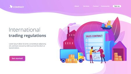 Sales contract terms concept landing page