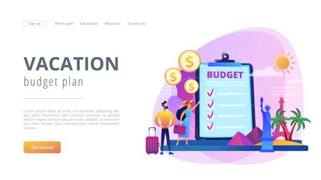 Vacation fund concept landing page. Иллюстрация