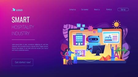 Smart hospitality industry concept landing page Banque d'images - 129020864