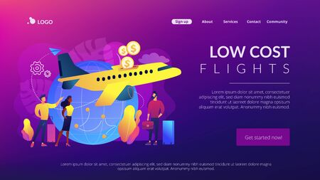 Low cost flights concept landing page