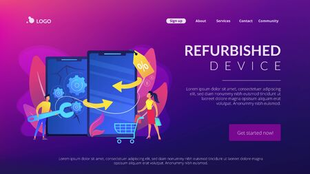 Refurbished device concept landing page. Stock Illustratie