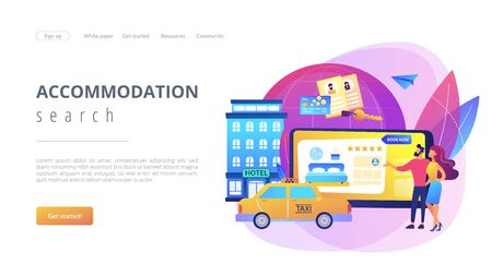 Online booking services concept landing page 矢量图像