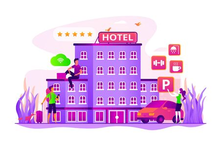 Hotel ranking. Vacation package. Tourist accommodation. Hotel facilities. All-inclusive hotel, luxury hospitality resort, all included service concept. Vector isolated concept creative illustration Ilustração