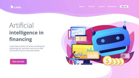 Artificial intelligence in financing concept landing page.