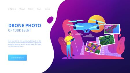 Aerial photography concept landing page Ilustrace