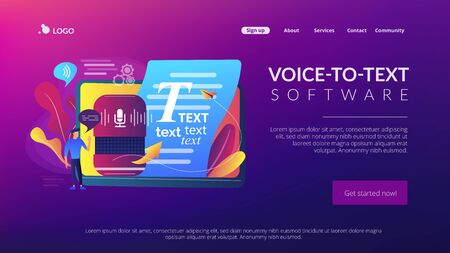 Speech to text concept landing page Stock Illustratie