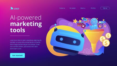 AI-powered marketing tools concept landing page.