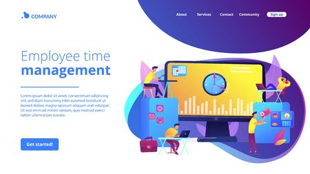 Time and attendance tracking system concept landing page Stock Illustratie