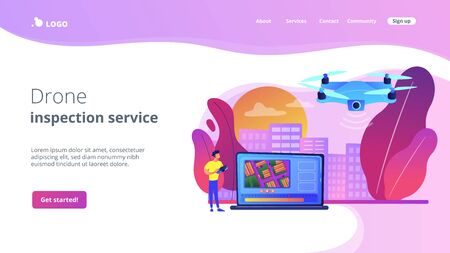 Aerial videography concept landing page Illustration