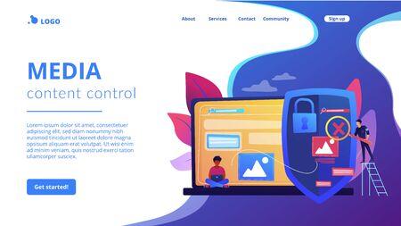 Media content control concept landing page Stock Illustratie