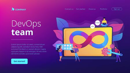 DevOps team concept landing page Stock Illustratie