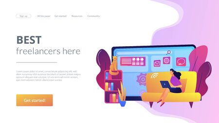 Freelance work concept landing page
