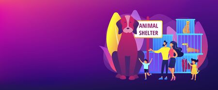 Animal shelter concept banner header