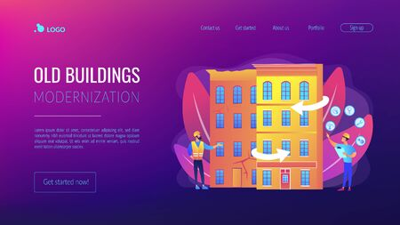 Old buildings modernization concept landing page Illustration
