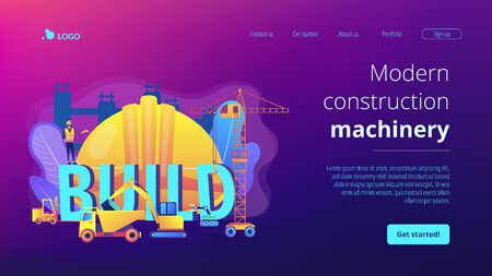 Modern construction machinery concept landing page
