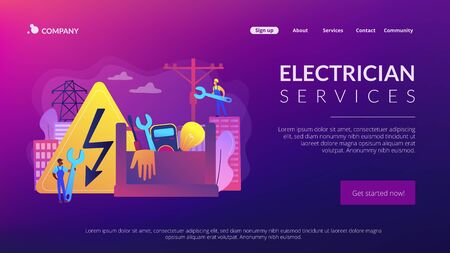 Electrician services concept landing page