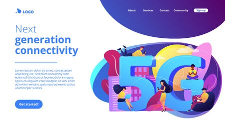 5g network concept landing page.  イラスト・ベクター素材