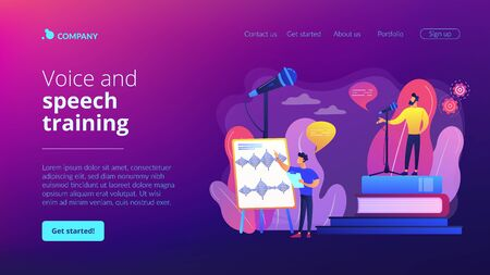 Voice and speech training concept landing page Illustration