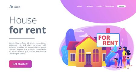 House for rent concept landing page. Stock Illustratie