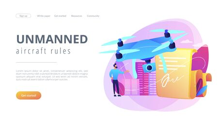 Drone flying regulations concept landing page.