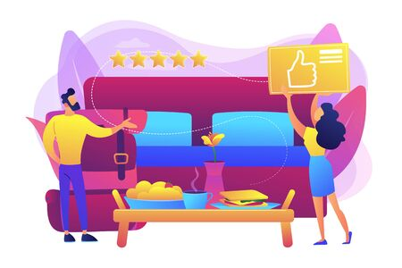 Luxurious service, satisfied customer feedback, positive review. Bed and breakfast, overnight home accommodation, bed and breakfast hotel concept. Bright vibrant violet vector isolated illustration Illustration