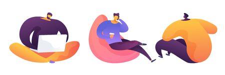Office work concept vector illustrations set