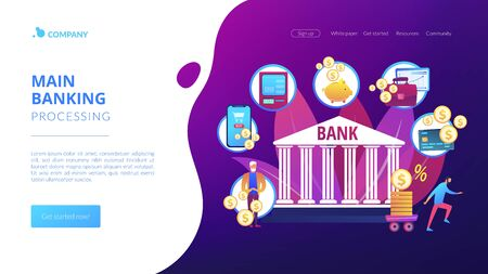 Banking operations concept landing page