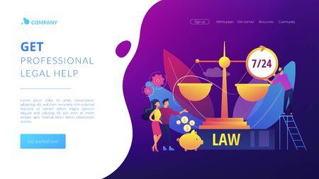 Legal services concept landing page Illusztráció