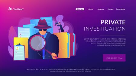 Private investigation concept landing page Vectores