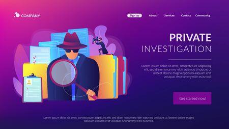 Private investigation concept landing page Illusztráció