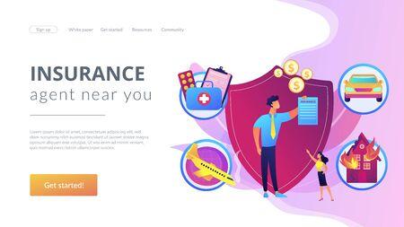 Insurance broker concept landing page Vektorové ilustrace