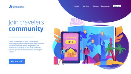 Hospitality and travel clubs concept landing page